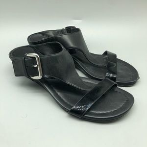 Donald J. Pliner black patent leather slide sandal